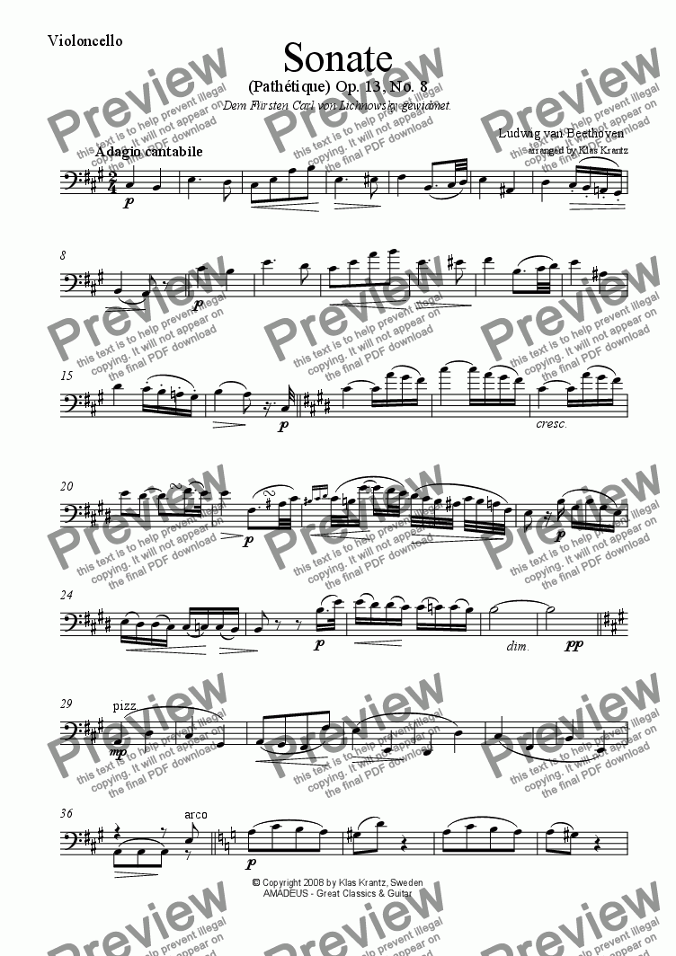 page one of the Violoncello part from Pathétique - Adagio cantabile, op. 13 No. 8, for violoncello and guitar