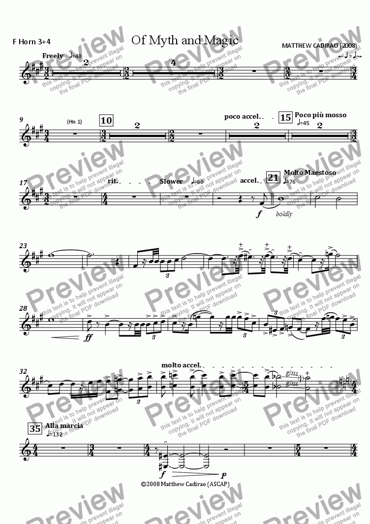 page one of the F Horns 3+4 part from Of Myth and Magic