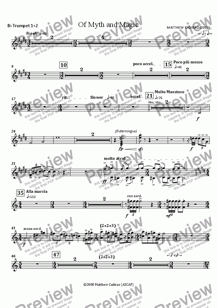 page one of the Bb Trumpets 1+2 part from Of Myth and Magic