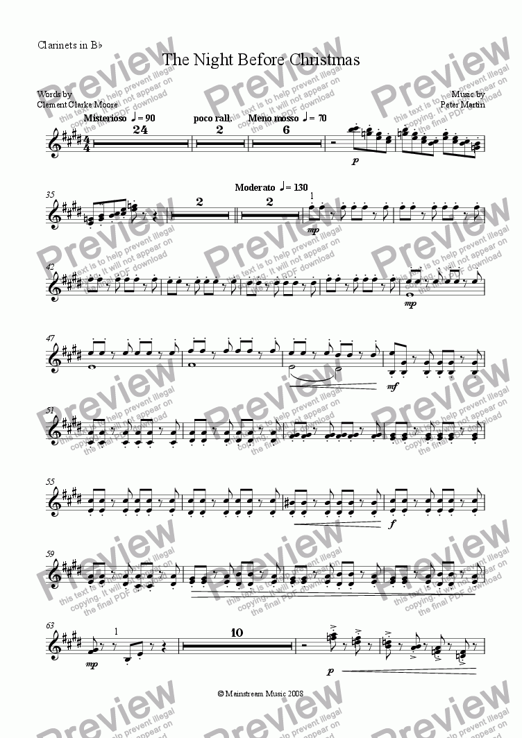 page one of the Clarinet in Bb part from The Night Before Christmas