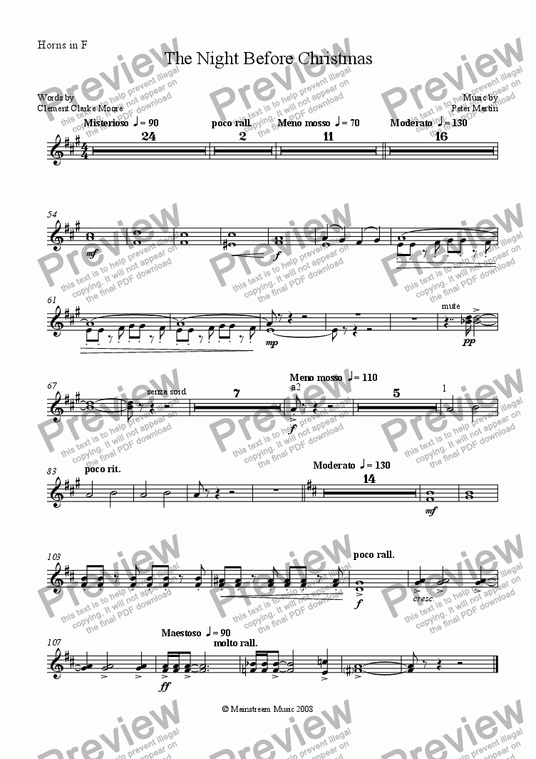page one of the Horn in F part from The Night Before Christmas