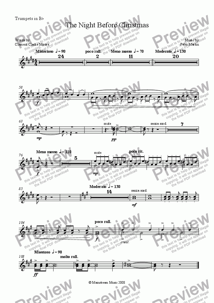 page one of the Trumpet in Bb part from The Night Before Christmas