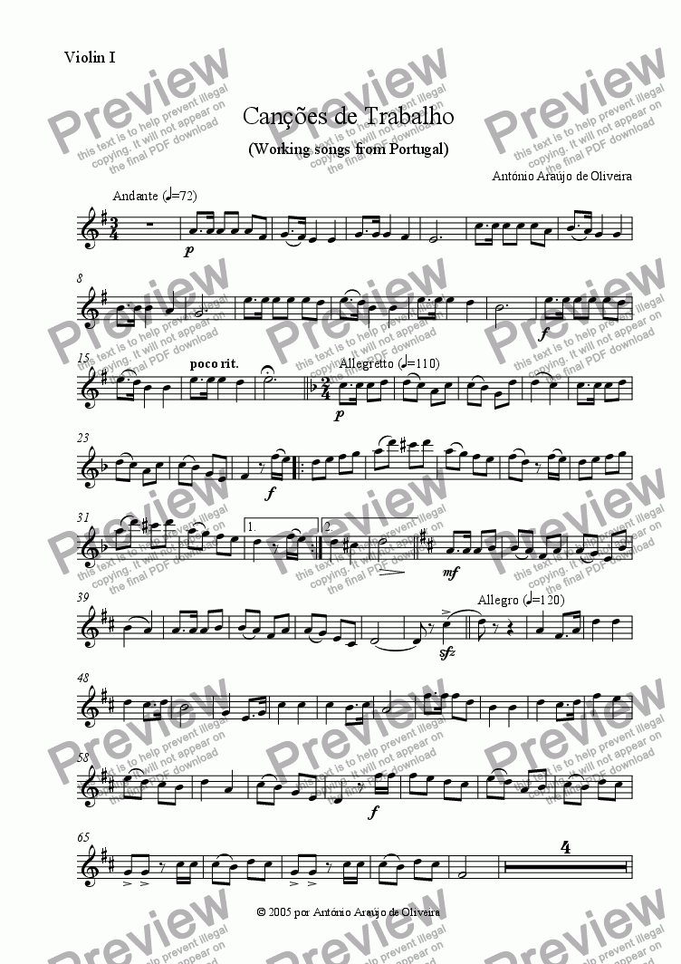 page one of the Violin I part from Working Songs