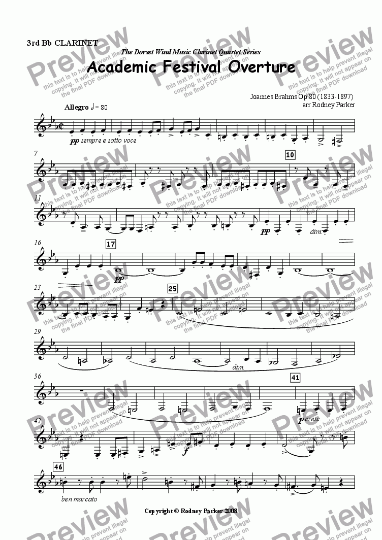 page one of the 3rd Bb Clarinet part from Academic Festival Overture arr for Clarinet Quartet