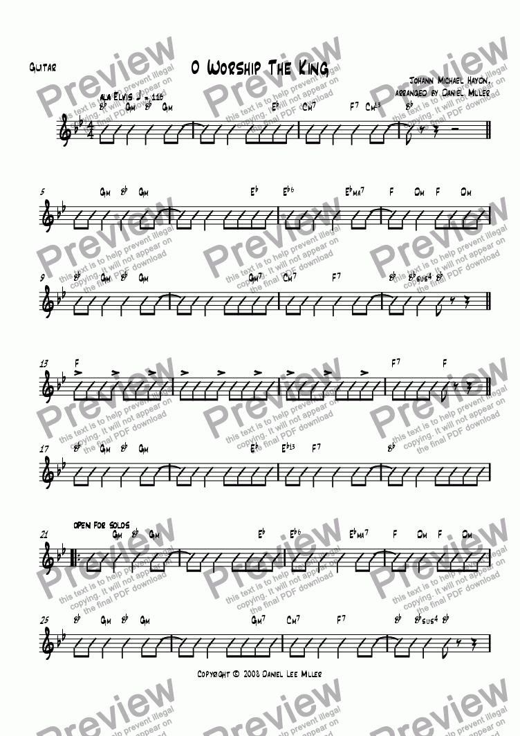 page one of the Guitar part from O Worship The King