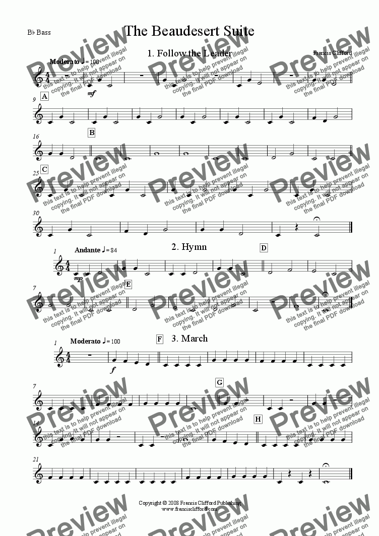 page one of the Bb Basses part from Beaudesert Suite (Brass Band Version)