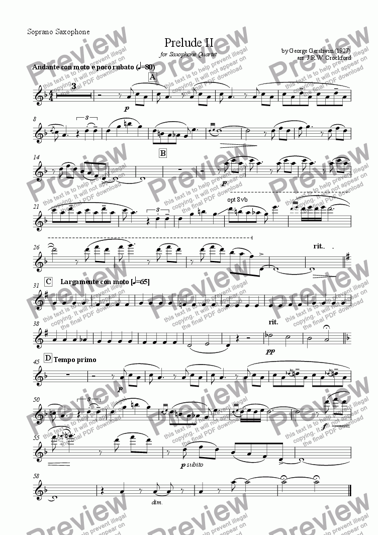 page one of the Soprano Saxophone part from Prelude II (from Three Preludes) for Saxophone Quartet
