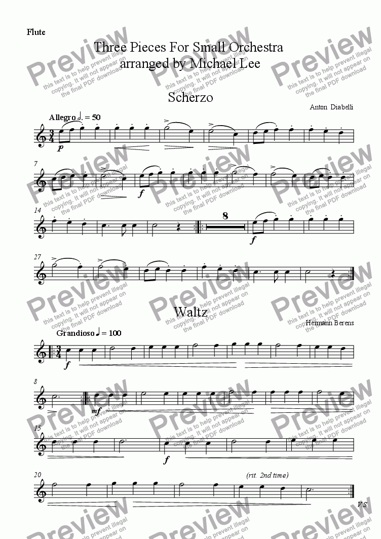 page one of the Flute part from Three Pieces For Small Orchestra