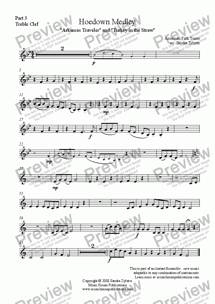 page one of the Hoedown Medley - Part 3 Treble part from Instant Ensemble: Hoedown Medley