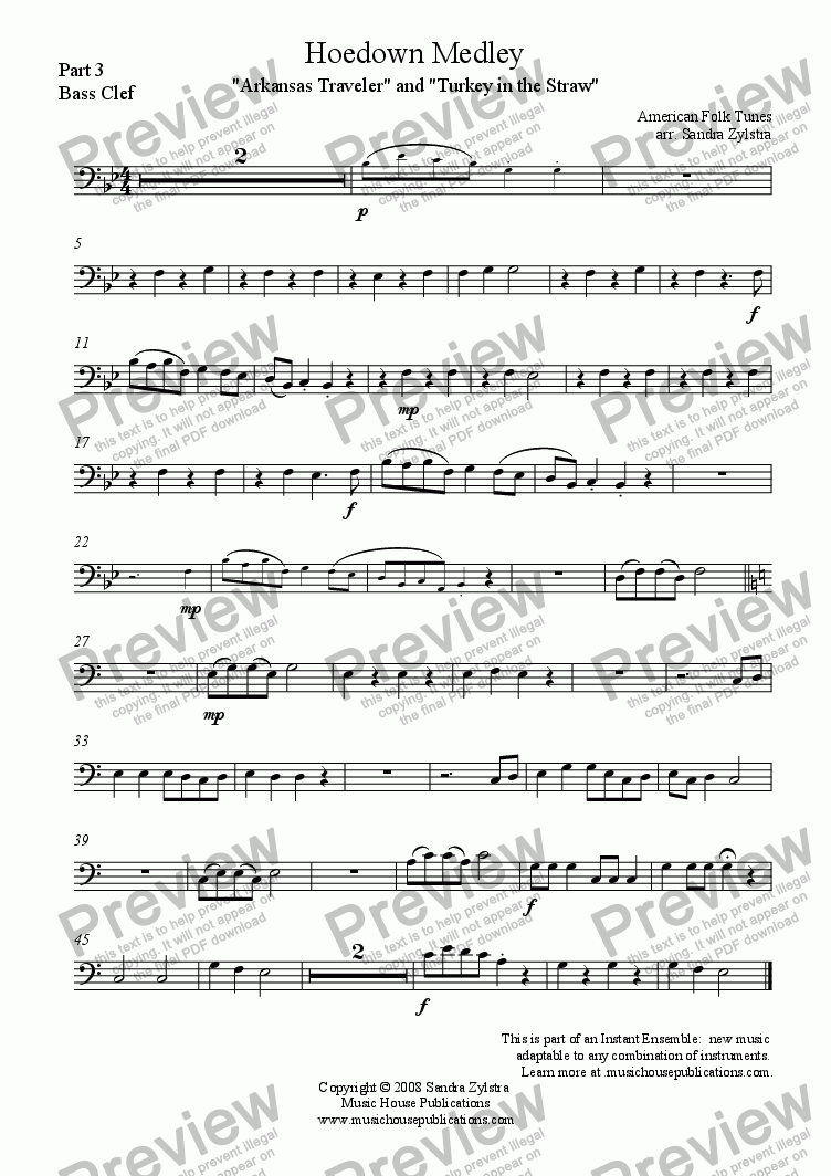 page one of the Hoedown Medley - Part 3 Bass part from Instant Ensemble: Hoedown Medley