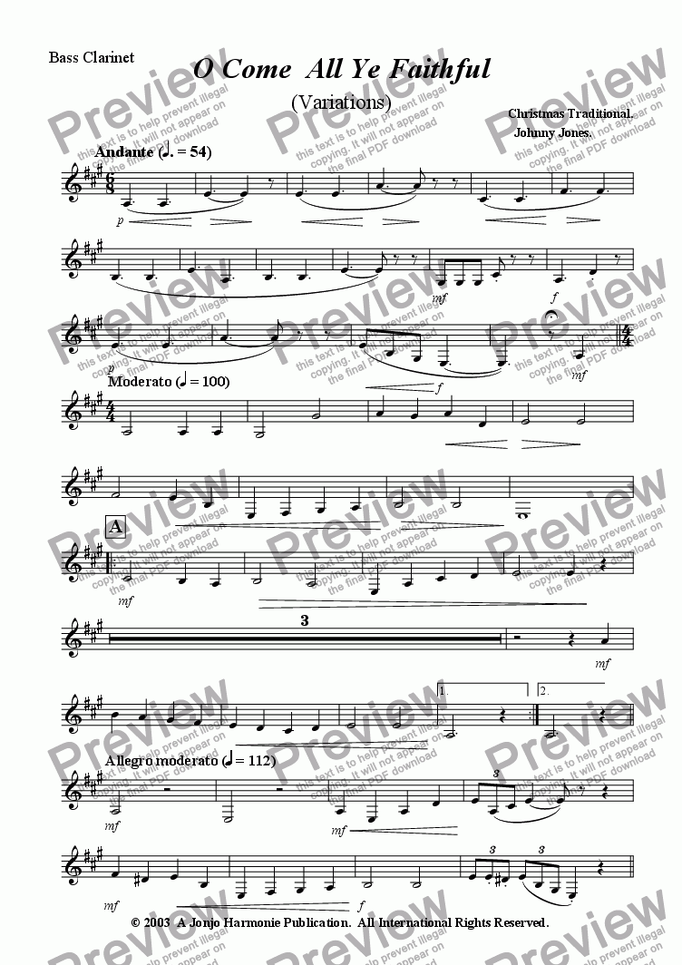 page one of the Bass Clarinet part from O Come All Ye Faithful    (Variations for Clarinet Choir)