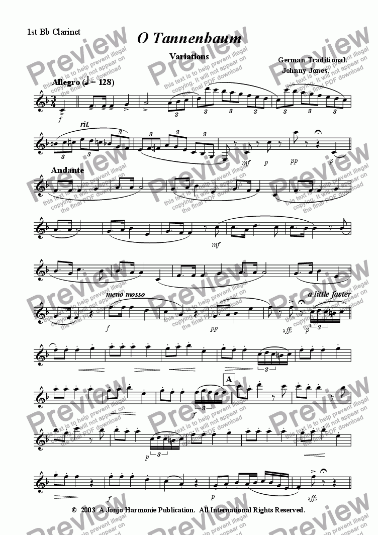 page one of the 1st Bb Clarinet part from O Tannenbaum   (Variations for Clarinet Choir)