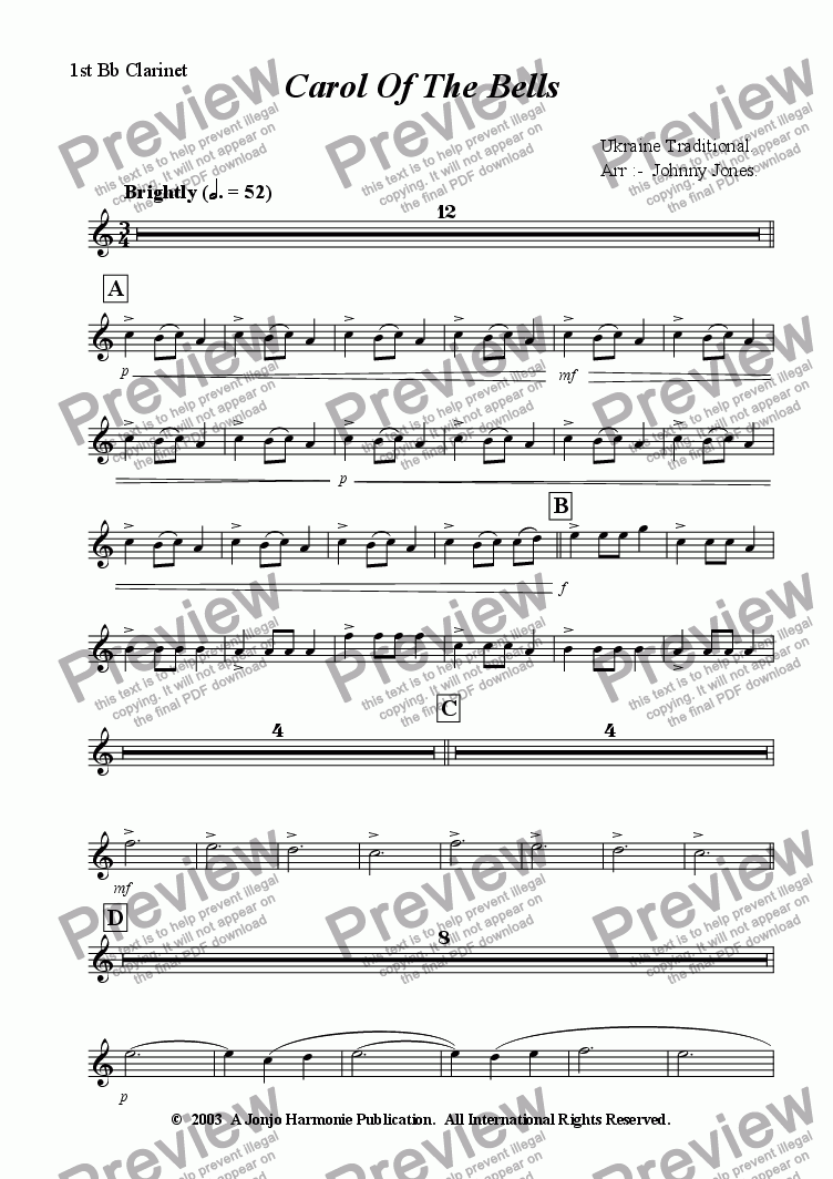 page one of the 1st Bb Clarinet part from Carol Of The Bells   (Clarinet Choir of 6)
