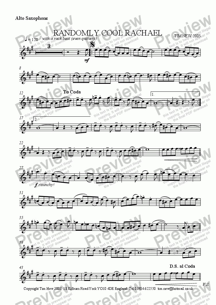 page one of the alto saxophone part from Randomly Cool Rachael (sax and piano version)