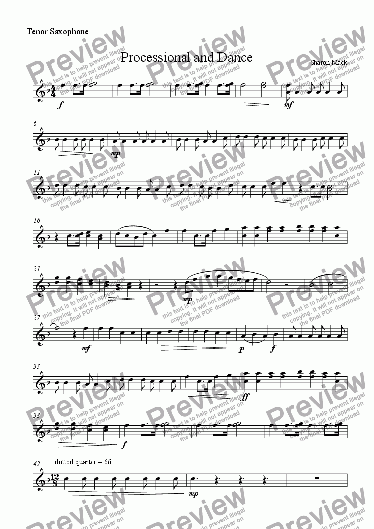 page one of the tenor sax part from Processional and Dance