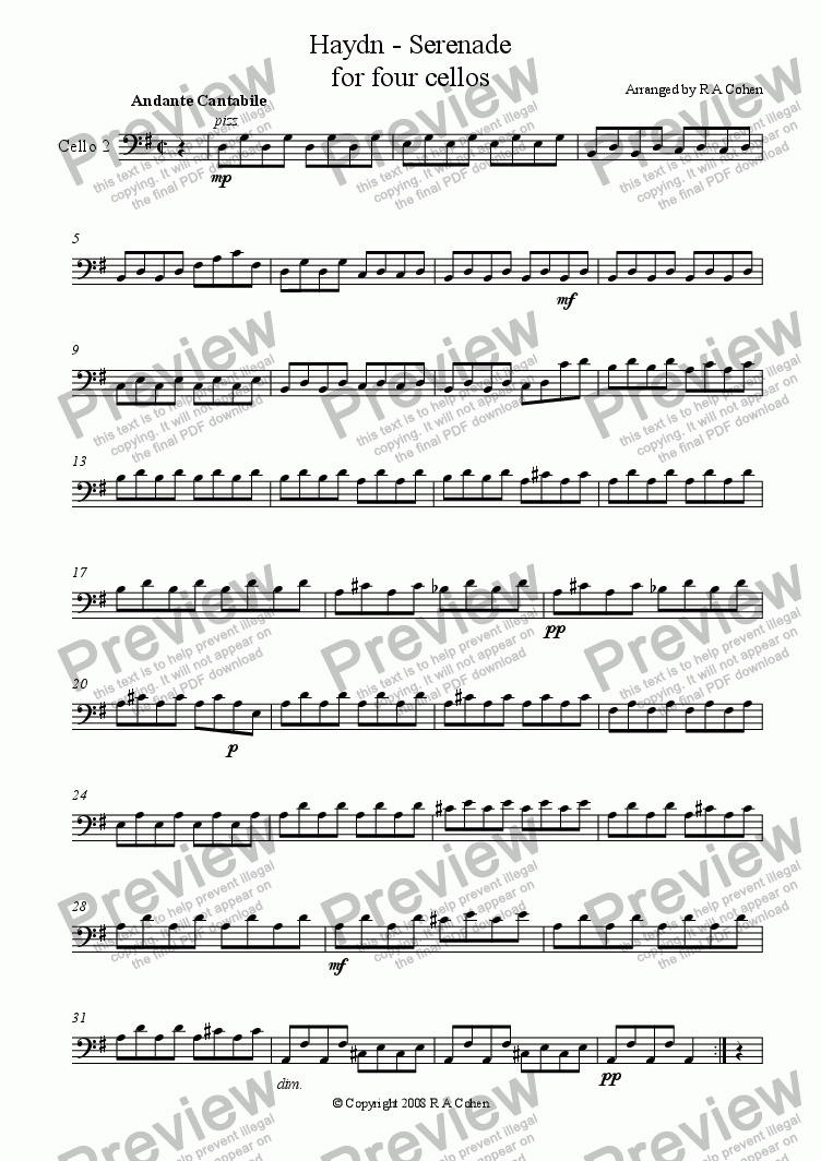 page one of the Cello 2 part from Haydn - SERENADE - for four cellos