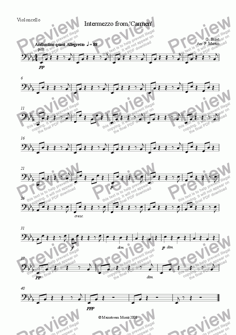 page one of the Cello part from Intermezzo from 'Carmen'