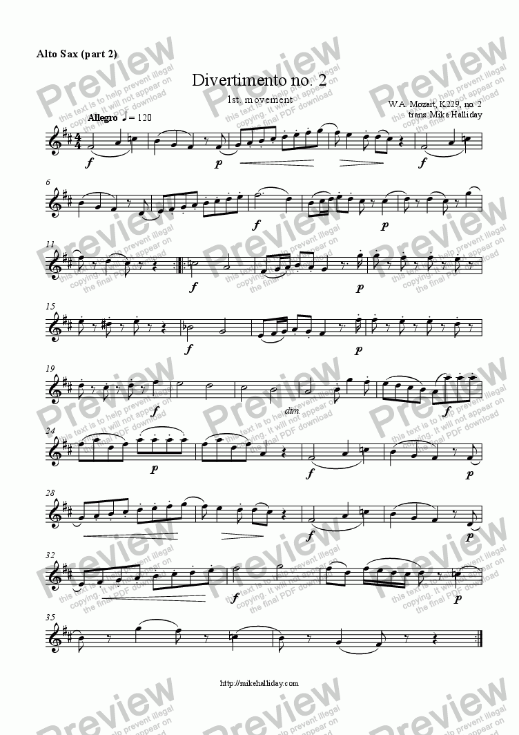 page one of the Alto Sax part 2 part from Divertimento no 2 1st mvt