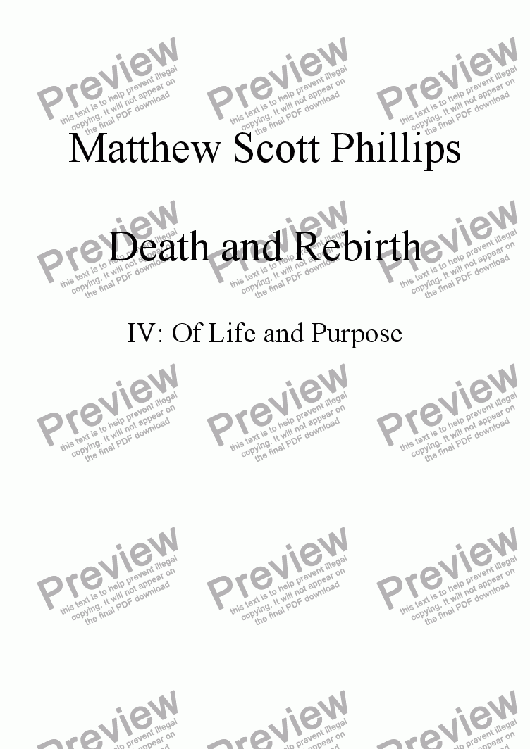 page one of the 1st Percussion part from 004: Rebirth; Of Life and Purpose