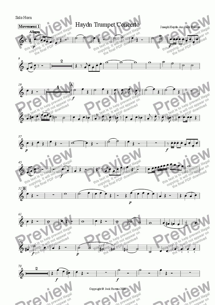 page one of the Solo Horn part from Haydn Trumpet Concerto - Brass Band
