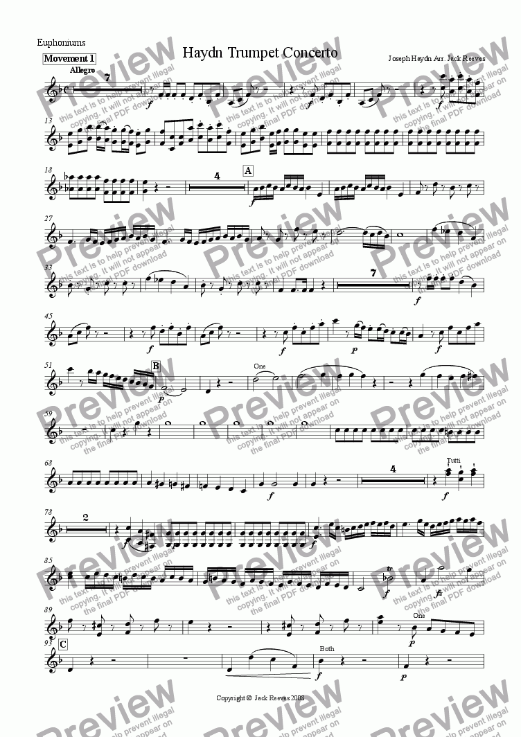 page one of the Euphoniums part from Haydn Trumpet Concerto - Brass Band