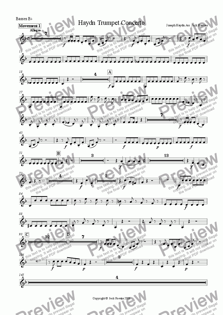 page one of the Bb Basses part from Haydn Trumpet Concerto - Brass Band
