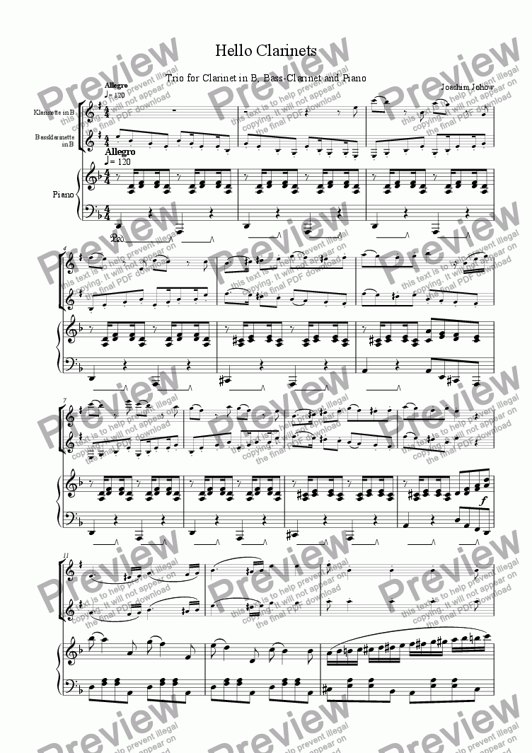 page one of the Piano with Cl part from Hello Clarinets