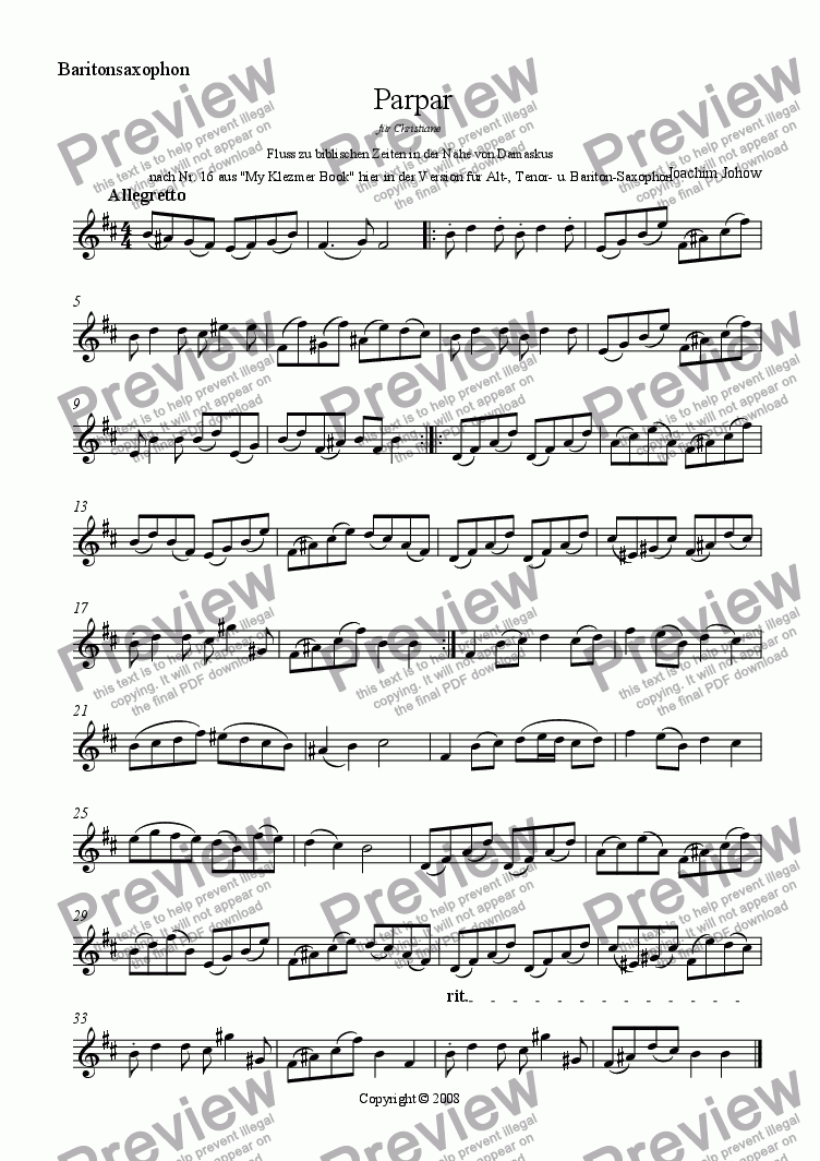 page one of the Bar Sax part from Parpar Project 26 (Alt-,Tenor-, Bariton-Sax)