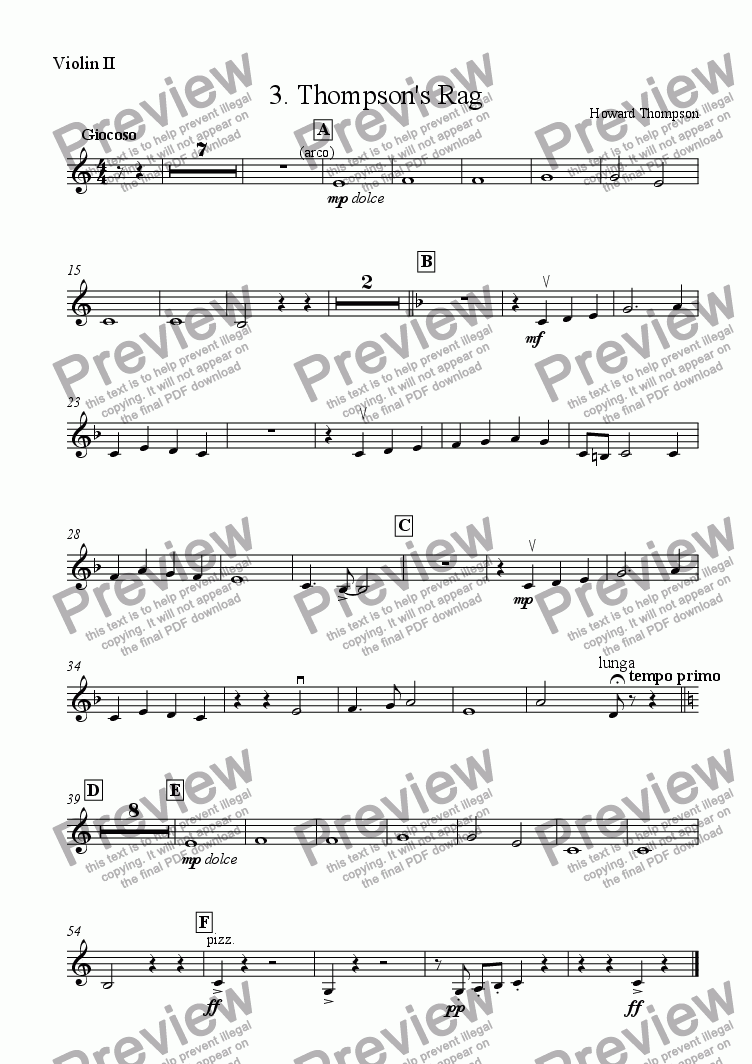 page one of the Violin 2 part from Liquorice Suite  3. Thompson's Rag