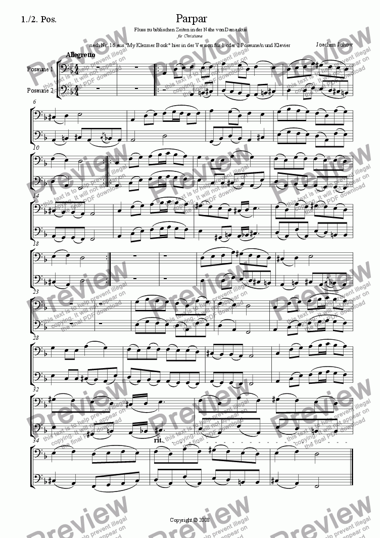 page one of the Trb 1/2 part from Parpar Project 29 (1/2 Trb and Piano)