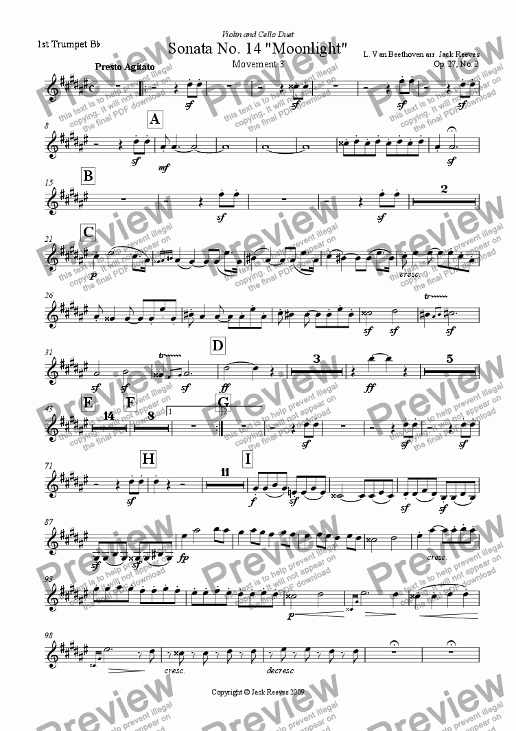 page one of the 1st Trumpet part from Moonlight Sonata - 3rd Movement (C# Minor) - Orchestra with Violin and Cello Duet