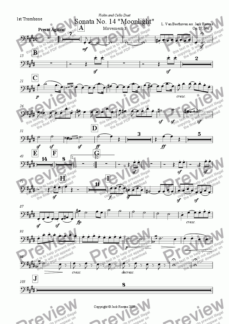 page one of the 1st Trombone part from Moonlight Sonata - 3rd Movement (C# Minor) - Orchestra with Violin and Cello Duet