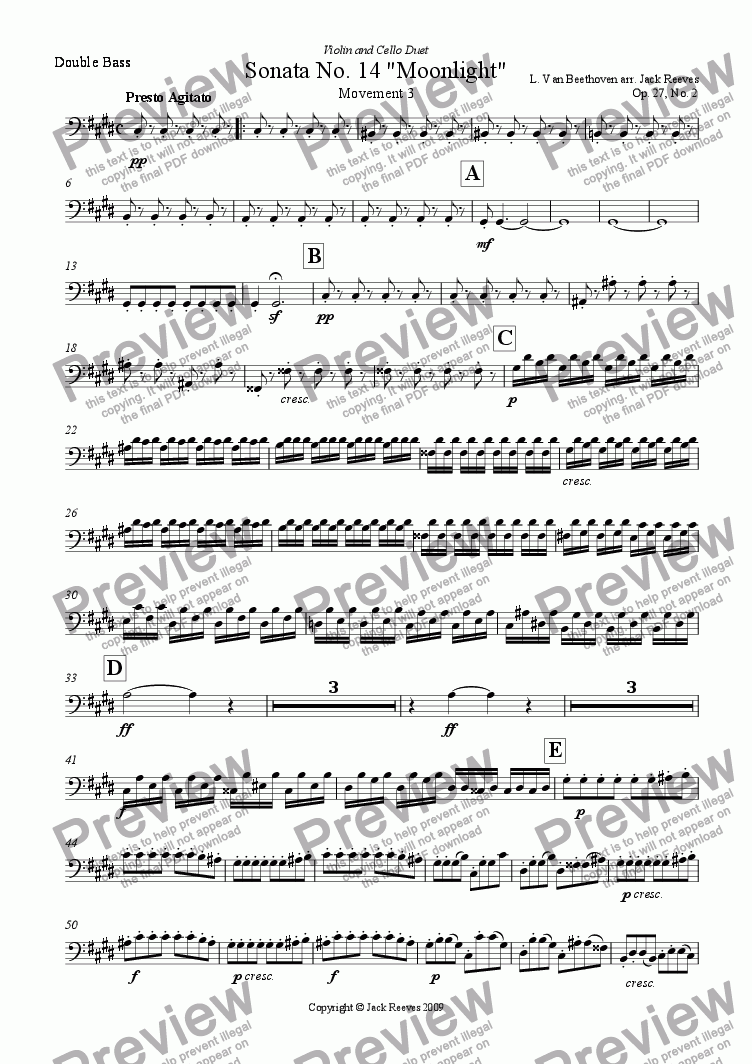 page one of the Double Bass part from Moonlight Sonata - 3rd Movement (C# Minor) - Orchestra with Violin and Cello Duet