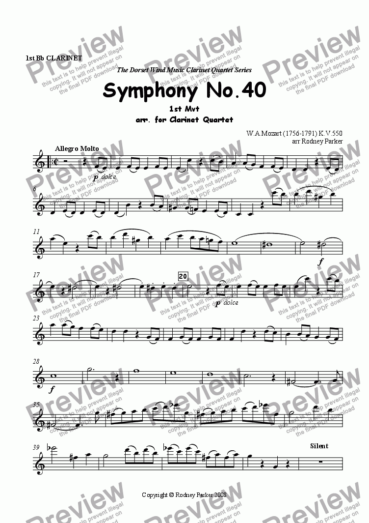 page one of the 1st Clarinet part from 1st Mvt Symphony No.40 W.A.Mozart arr. for Clarinet Quartet