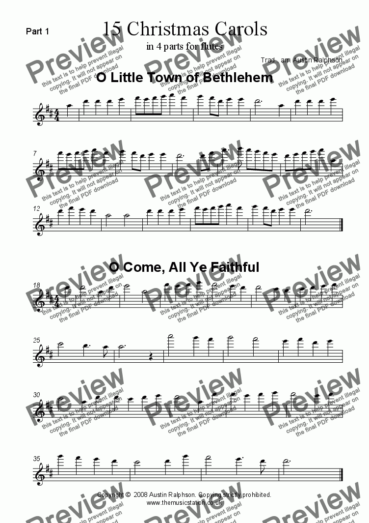 page one of the Flute 1 part from 15 Christmas Carols for flute quartet