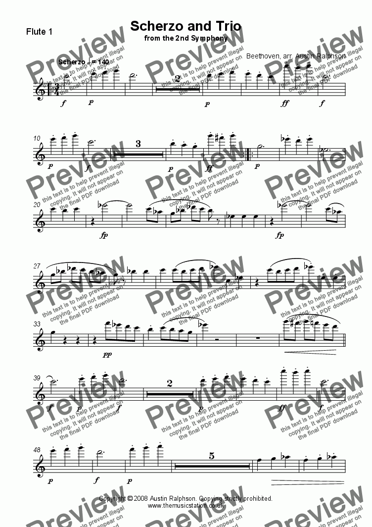page one of the Flute 1 part from Scherzo & Trio from the 2nd Symphony - flute quartet