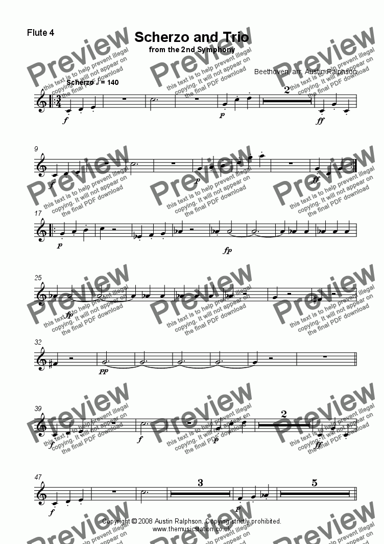 page one of the Flute 4 part from Scherzo & Trio from the 2nd Symphony - flute quartet