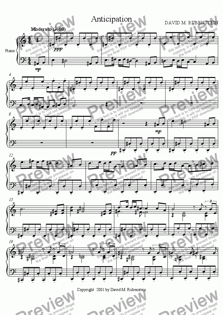 page one of the Piano part from Anticipation