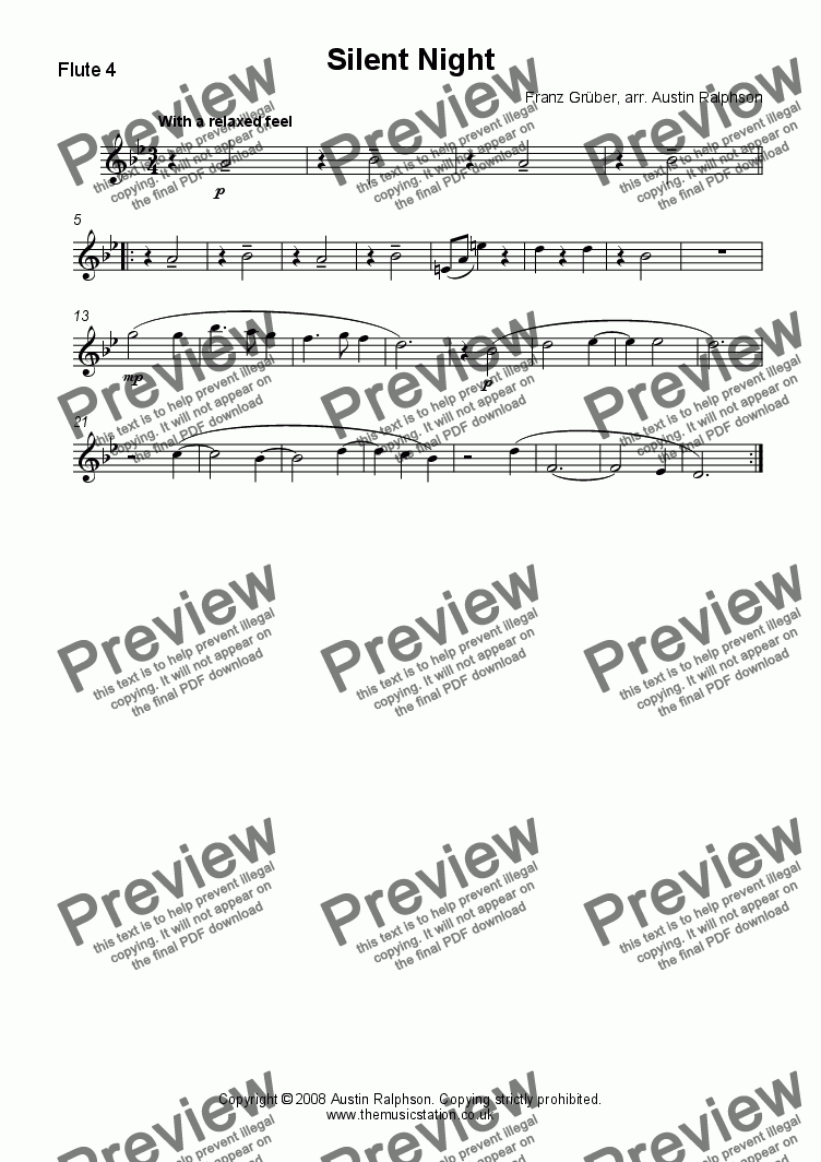page one of the Flute 4 part from Silent Night - flute quintet