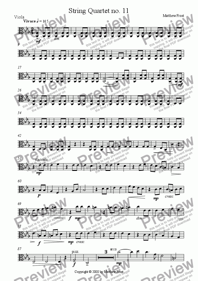 page one of the Viola part from String Quartet no. 11