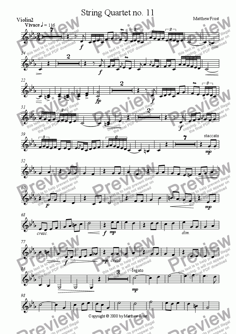 page one of the Violin 2 part from String Quartet no. 11
