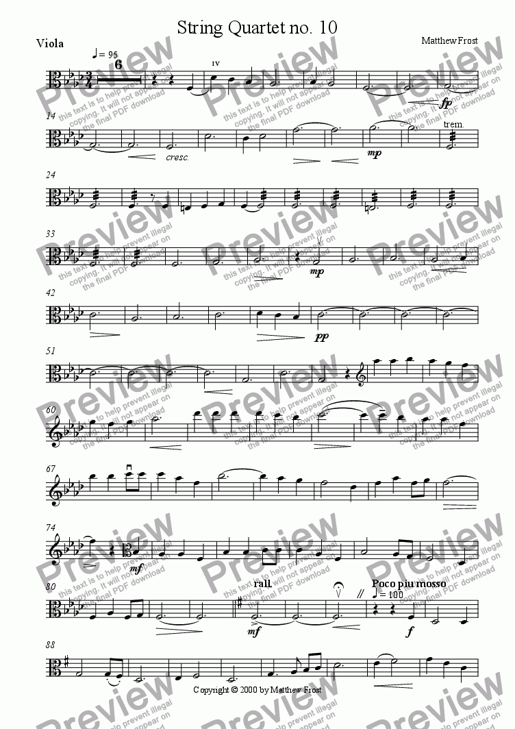 page one of the Viola part from String Quartet no. 10