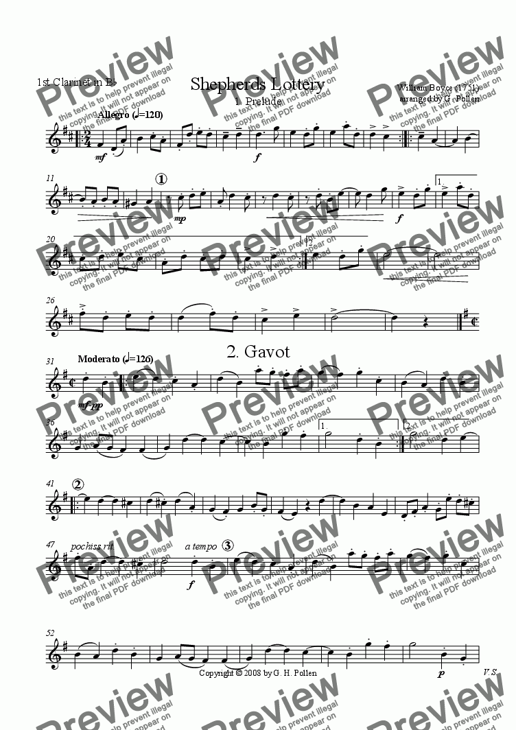 page one of the 1st Clarinet in B flat part from The Shepherds' Lottery