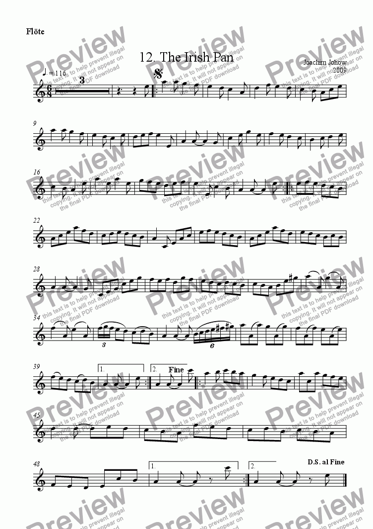 page one of the Fl part from Spring Fiddler 12 (The Irish pan)