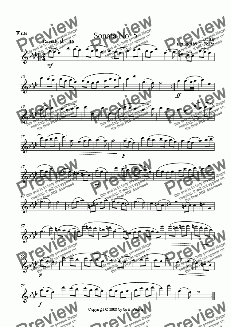 page one of the Flute part from Gavotte [Sonata No. 5] (ME)