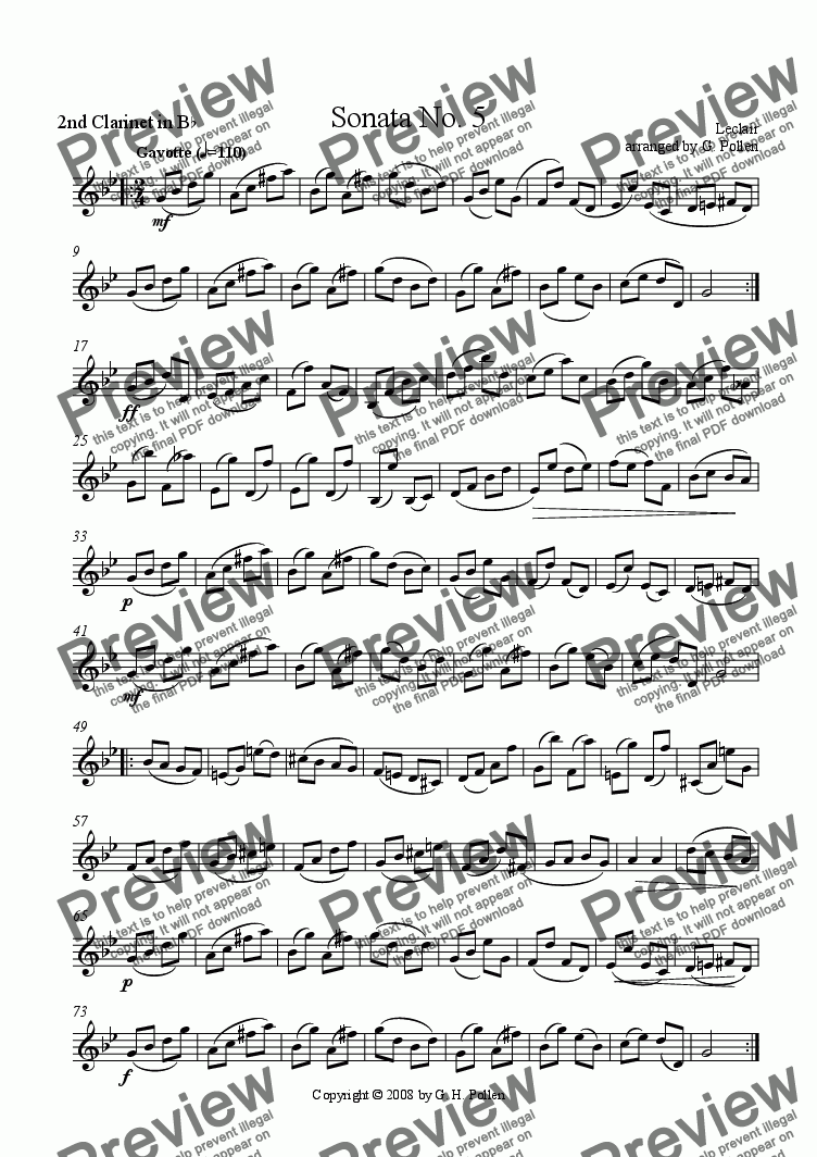 page one of the 2nd Clarinet in B flat part from Gavotte [Sonata No. 5] (ME)