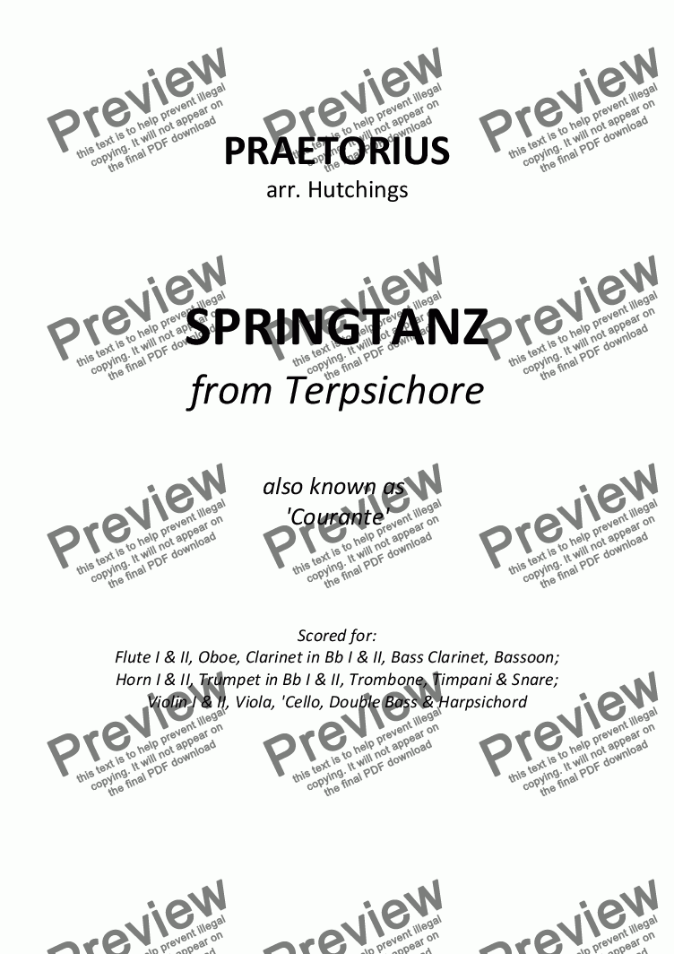 page one of the Continuo part from Praetorius - Springtanz (Courante) from Terpsichore - (orchestra)