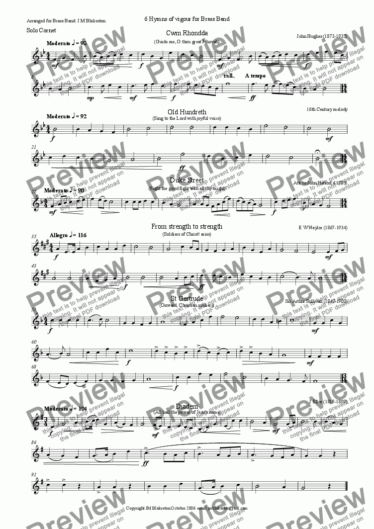 page one of the solo cornet part from 6 vigorous hymns (brass band)