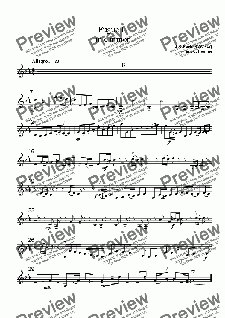 page one of the Violin II part from Fugue II in c minor (BWV 847)