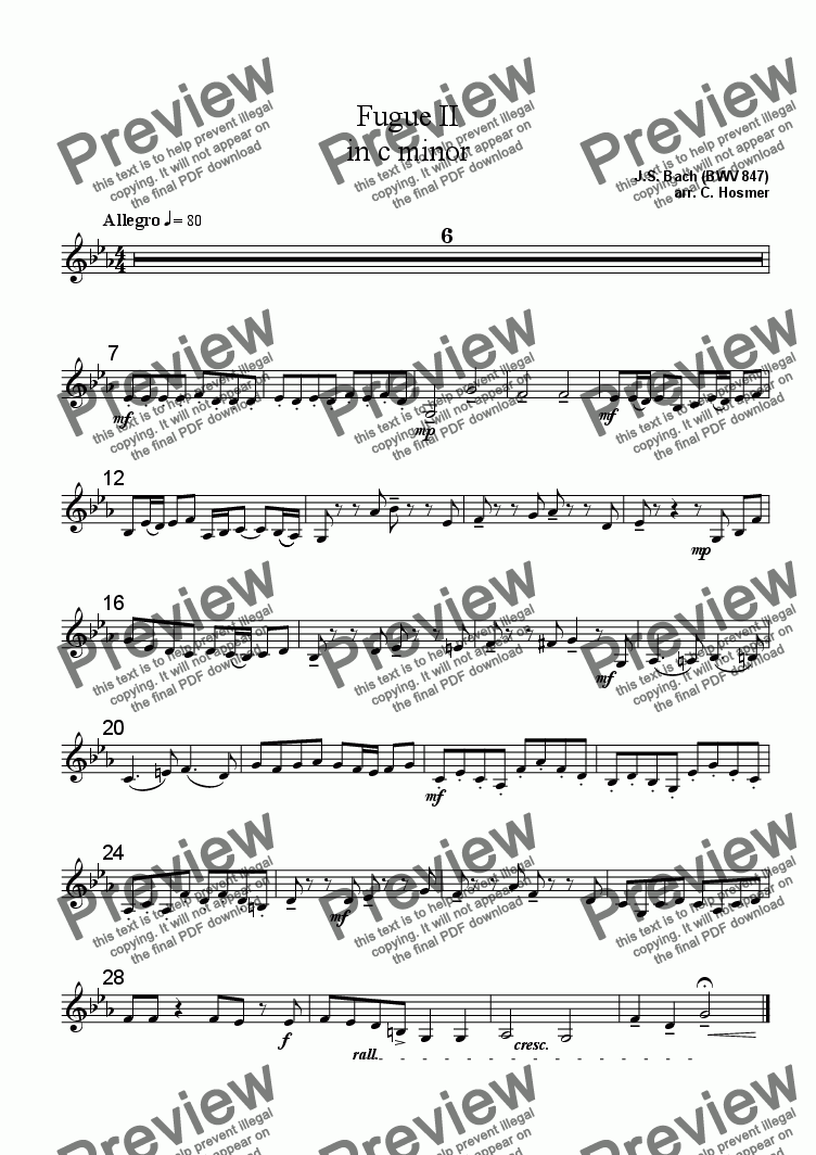 page one of the Violin III part from Fugue II in c minor (BWV 847)